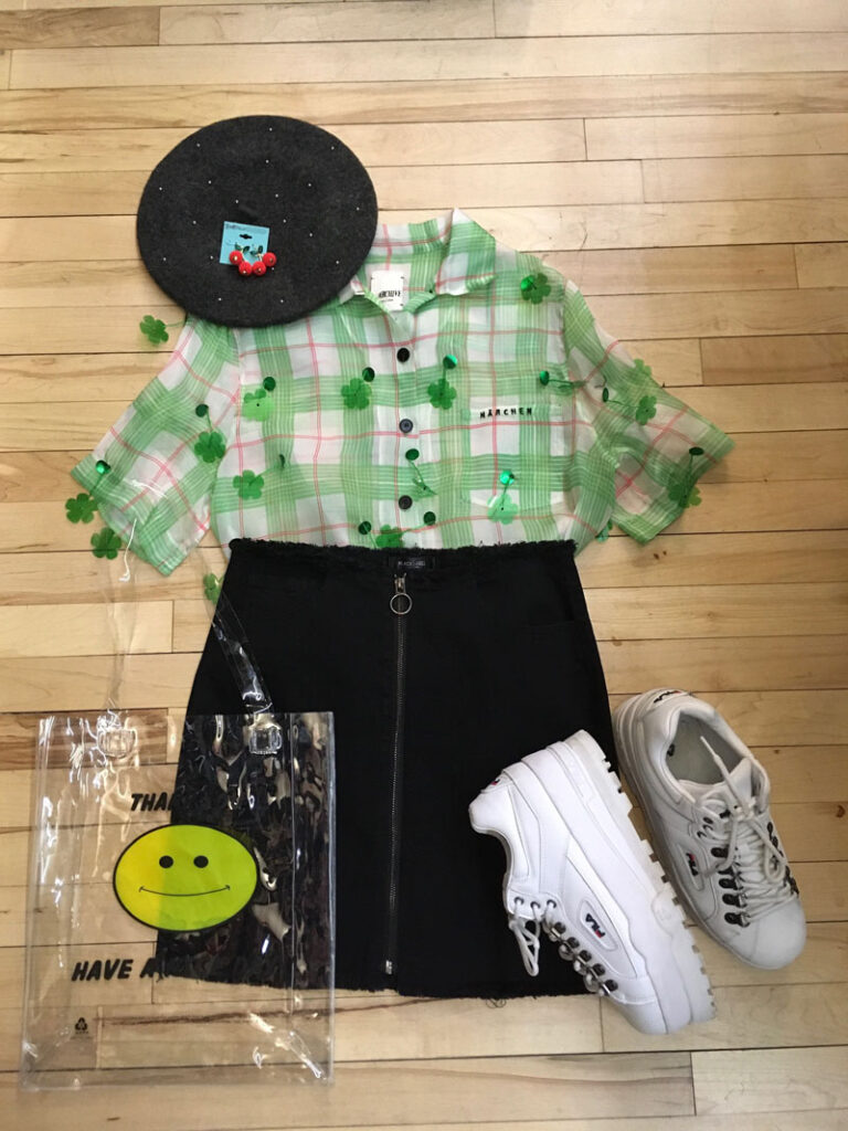 Buffalo Exchange Spring Style Sheer Shamrock Top With Miniskirt
