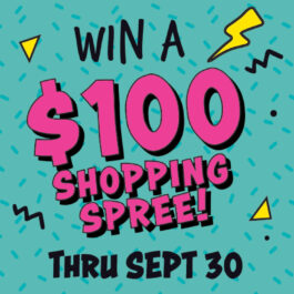 Sell to us to enter!* (must subscribe to our email list to enter). Win a $100 shopping spree! [Buffalo Exchange Gift Card] Thru Sept 30. Trade up your closet!