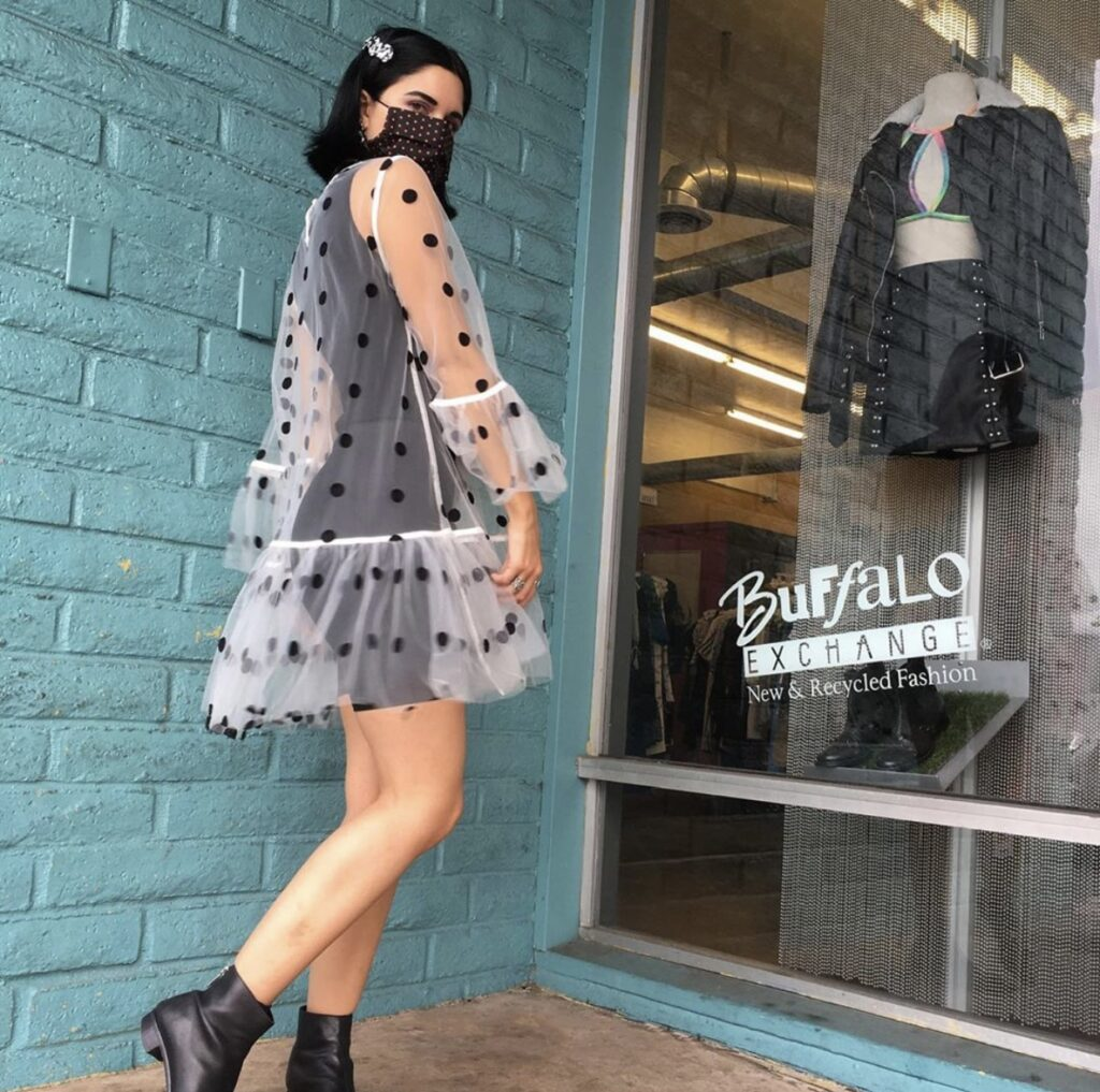 Buffalo Exchange Spring Style Mesh Polka Dot Dress