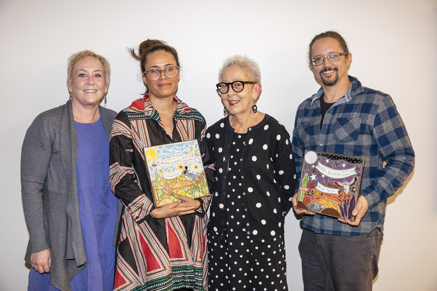 Dante Celeiro receives 2018 Buffalo Exchange Arts Award from Kerstin Block (R) and Rebecca Block (L)